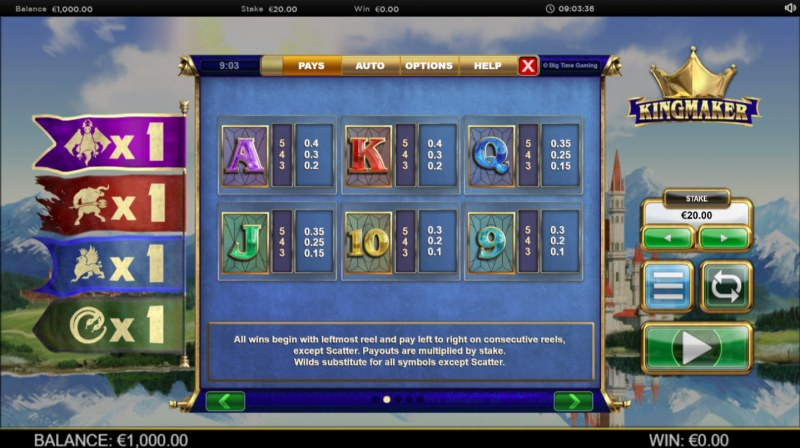 Kingmaker Megaways :: Paytable - Low Value Symbols