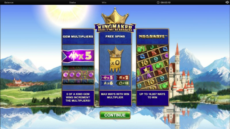 Play slots at Sun Play: Sun Play featuring the Video Slots Kingmaker Megaways with a maximum payout of $250,000