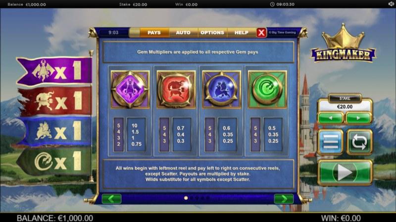 Kingmaker Megaways :: Paytable - High Value Symbols
