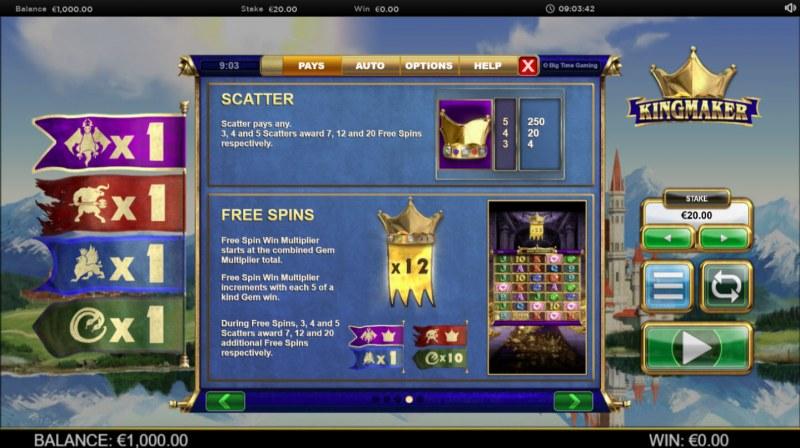 Kingmaker Megaways :: Scatter Symbol Rules