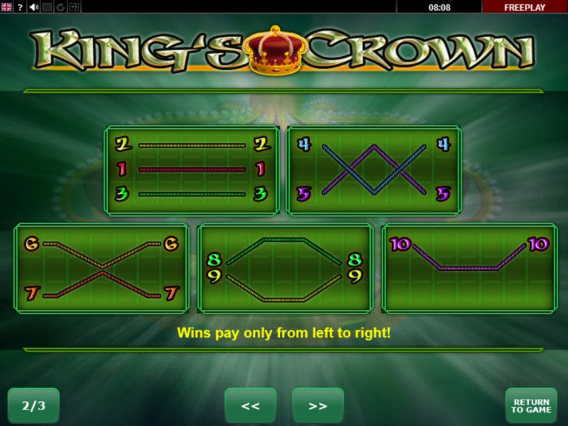 King's Crown :: Paylines 1-10
