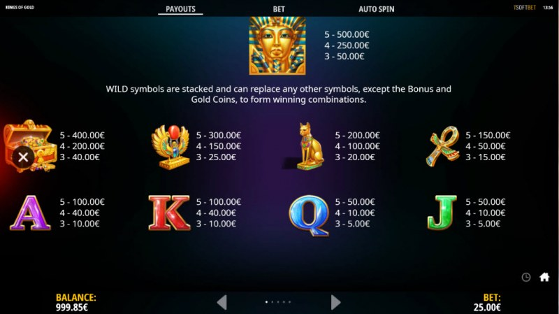 Kings of Gold :: Paytable