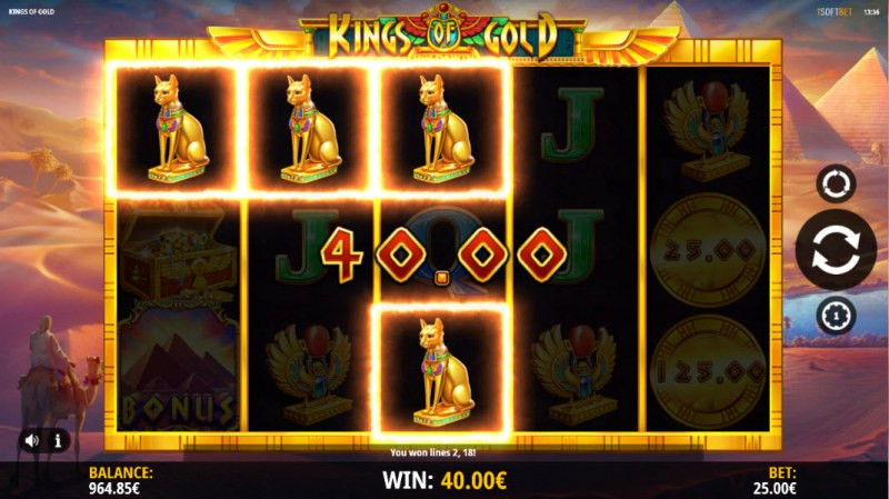 Kings of Gold :: A three of a kind win