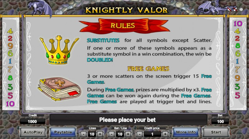 Knightly Valor :: Wild and Scatter Rules