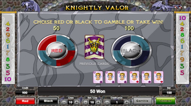 Knightly Valor :: Red or Black Gamble Feature
