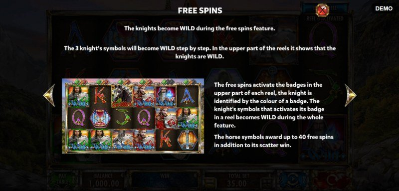 Knights :: Free Spins Rules