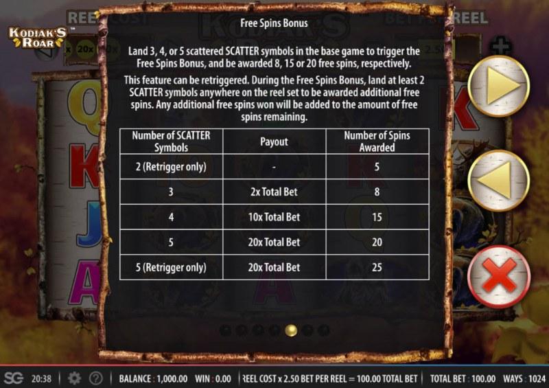 Kodiak's Roar :: Free Spins Rules