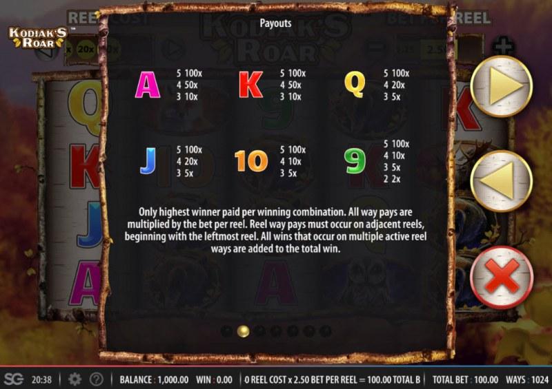 Kodiak's Roar :: Paytable - Low Value Symbols