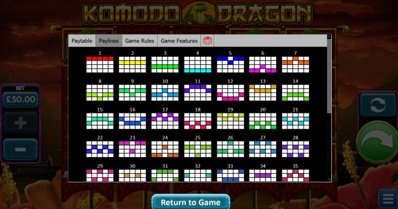 Komodo Dragon :: Paylines