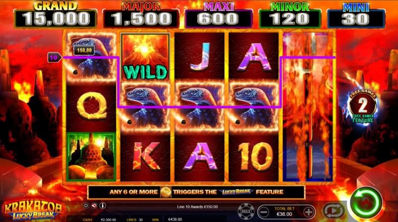 Krakatoa Lucky Break :: A five of a kind win