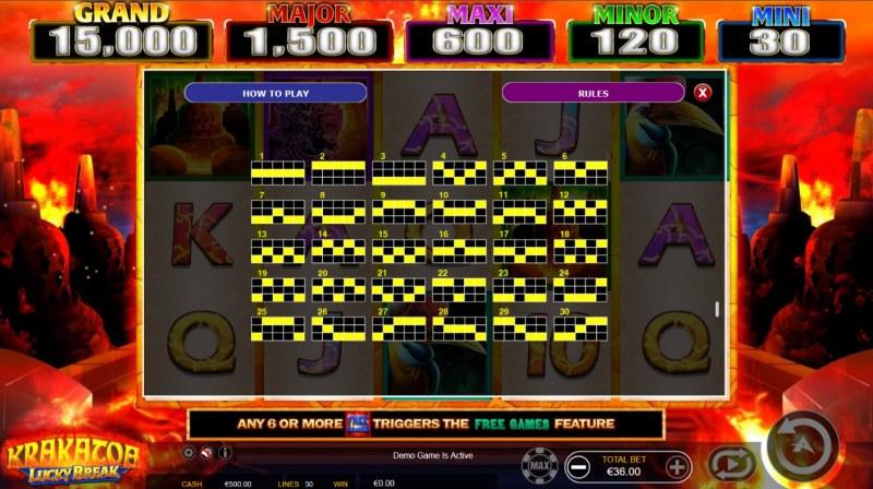 Krakatoa Lucky Break :: Paylines 1-30