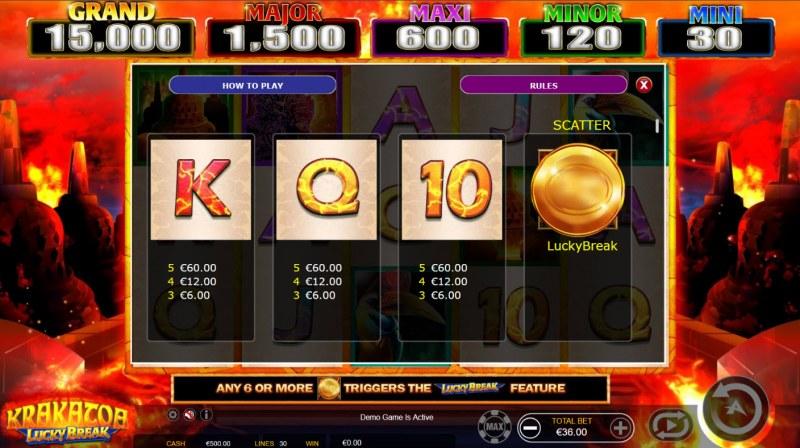 Krakatoa Lucky Break :: Paytable - Low Value Symbols