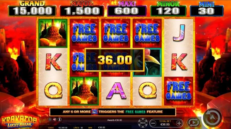 Krakatoa Lucky Break :: Scatter symbols triggers the free spins bonus feature
