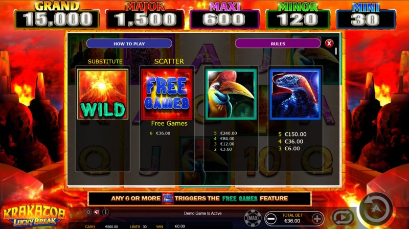 Krakatoa Lucky Break :: Paytable - High Value Symbols