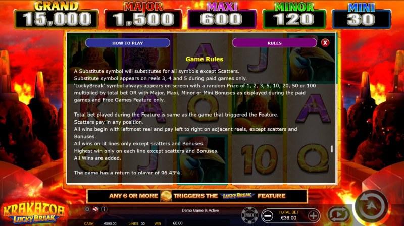 Krakatoa Lucky Break :: General Game Rules