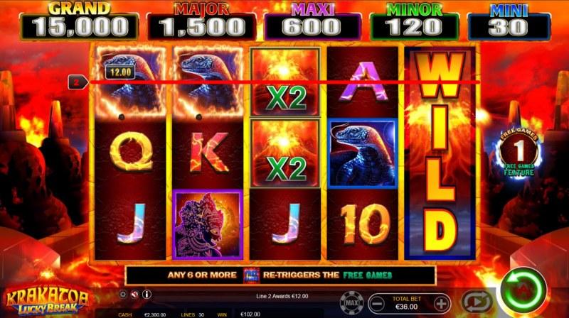 Krakatoa Lucky Break :: 2X Wild Multiplier