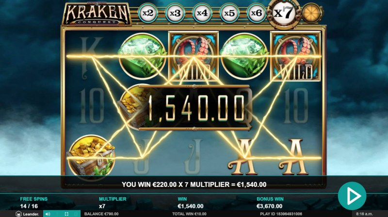 Kraken Conquest :: Multiple winning combinations leads to a big win