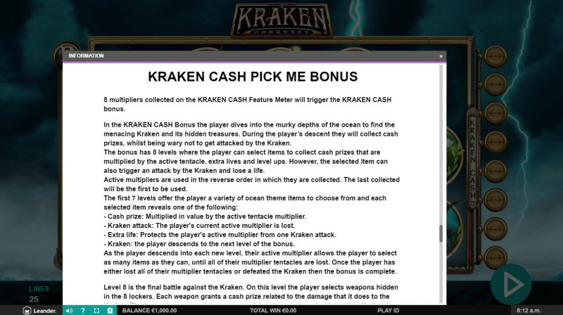 Kraken Conquest :: Kraken Cash Pick Me Bonus