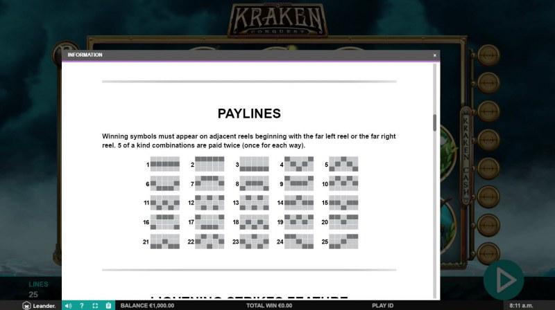 Kraken Conquest :: Paylines 1-25
