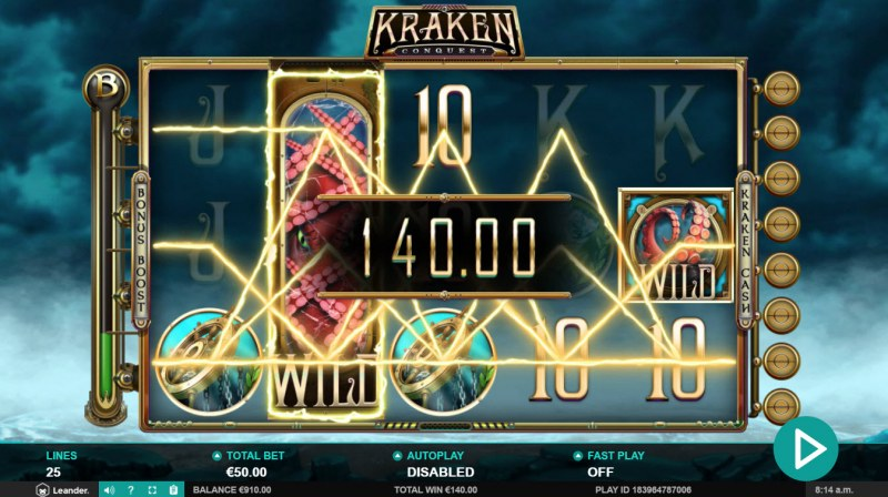 Kraken Conquest :: Stacked wild symbols triggers multiple winning paylines