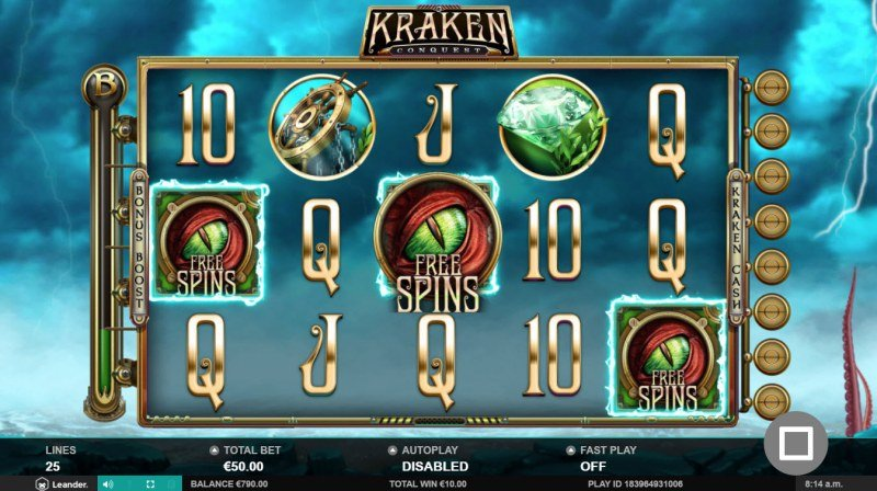 Kraken Conquest :: Scatter symbols triggers the free spins feature