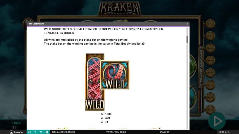 Kraken Conquest :: Wild Symbols Rules