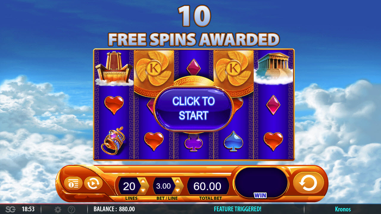 Kronos :: Scatter symbols triggers the free spins feature