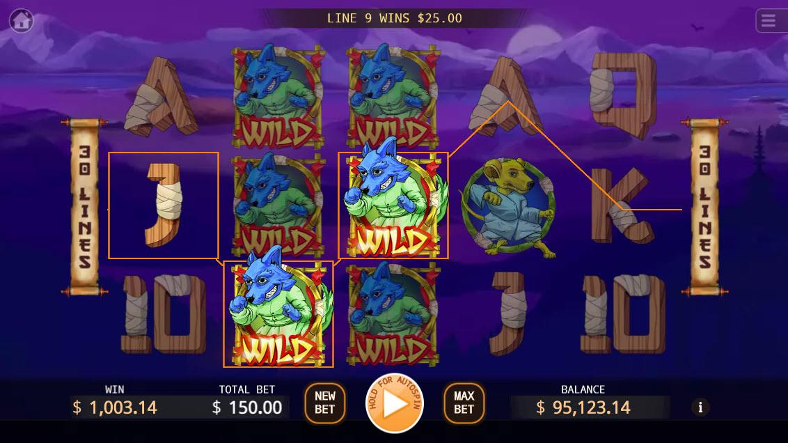 Kung-Fu Kash :: Multiple winning paylines