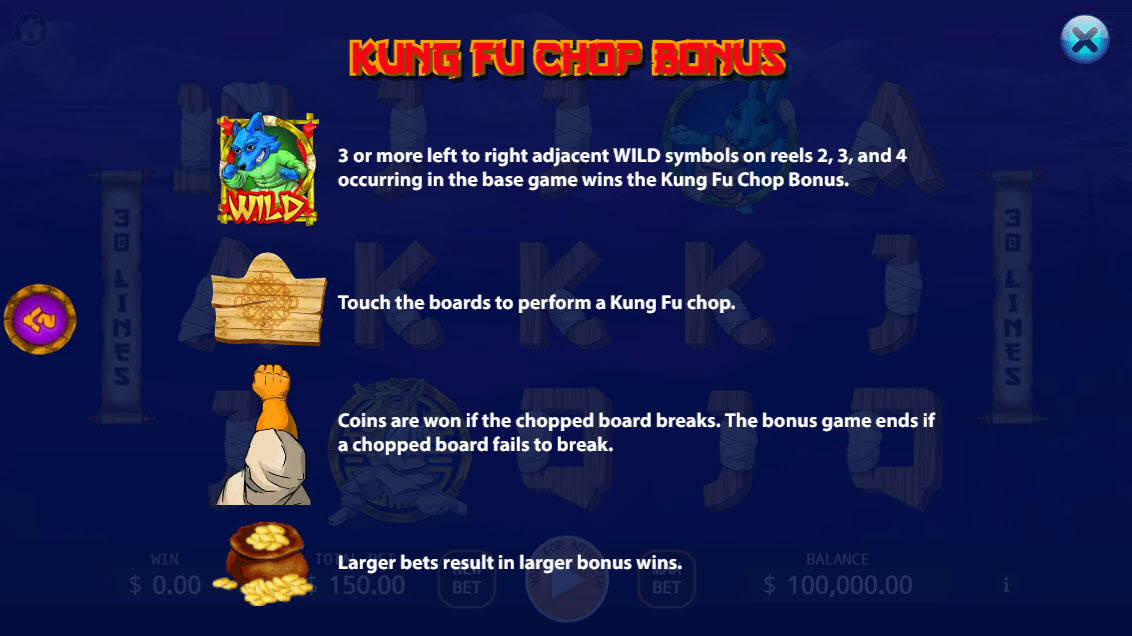 Kung-Fu Kash :: Bonus Game Rules