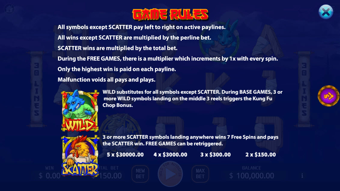 Kung-Fu Kash :: Wild and Scatter Rules