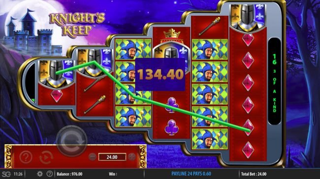 Queen Vegas featuring the Video Slots Knight's Keep with a maximum payout of $250,000