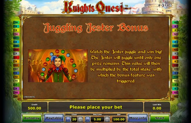 Quasar featuring the Video Slots Knights Quest with a maximum payout of $50,000