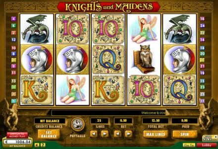 Knights & Maidens :: Main game board featuring five reels and 25 paylines with a $50,000 max payout
