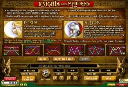 Knights & Maidens :: General Game Rules, Bonus Rules, Scatter Rules and Payline Diagrams