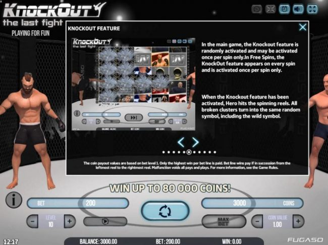 Split Aces featuring the Video Slots Knockout the Last Fight with a maximum payout of $80,000