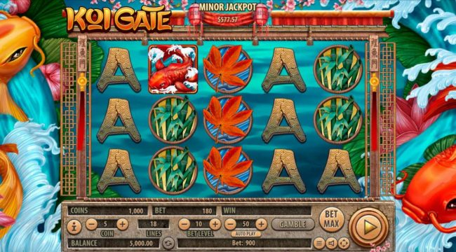 Vegas Crest featuring the Video Slots Koi Gate with a maximum payout of $2,500,000