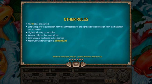 Koi Gate :: General Game Rules - Maximum win per paid spin is 2,500,000.