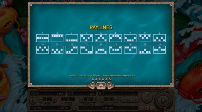 Koi Gate :: Payline Diagrams 1-18