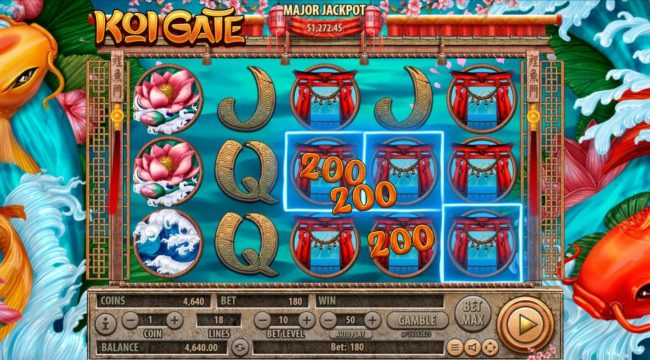 Koi Gate :: The game pays both ways, from left to right and right to left.
