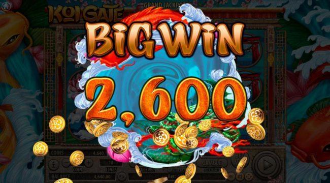 Koi Gate :: A 2,600 Big Win is triggered.