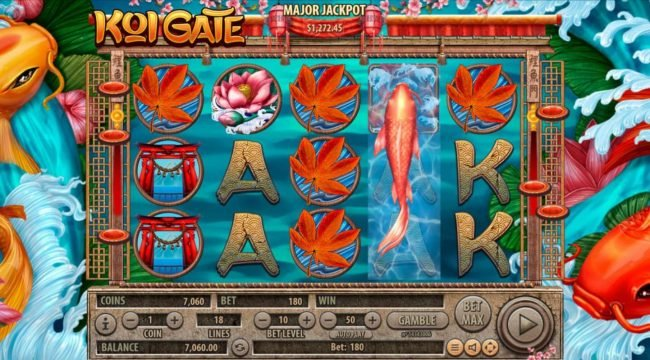 Slots Village featuring the Video Slots Koi Gate with a maximum payout of $2,500,000