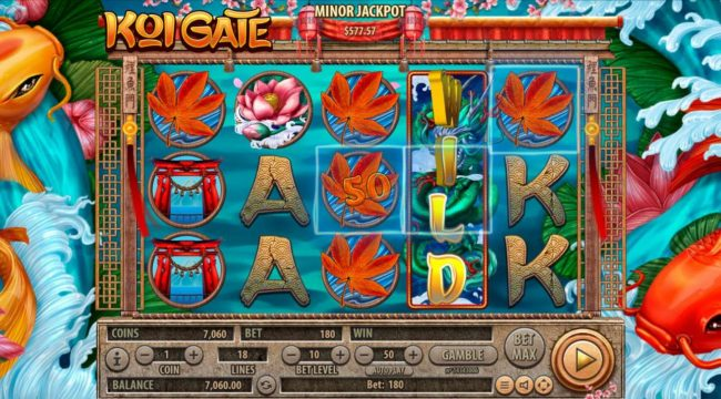 Boaboa featuring the Video Slots Koi Gate with a maximum payout of $2,500,000
