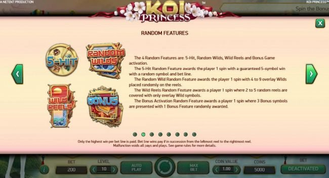 Sin Spins featuring the Video Slots Koi Princess with a maximum payout of $1,000,000