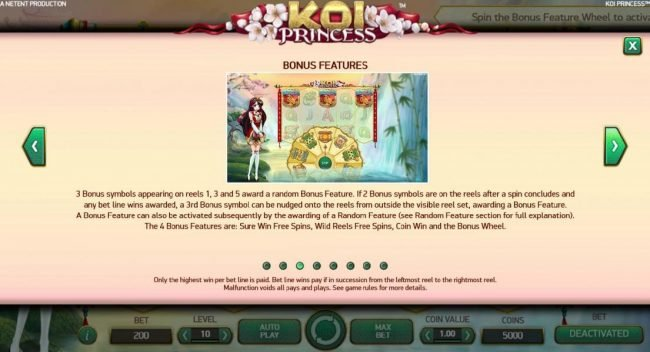 Betting Ways featuring the Video Slots Koi Princess with a maximum payout of $1,000,000