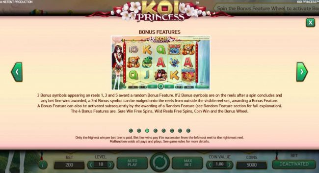 Play slots at Zet Casino: Zet Casino featuring the Video Slots Koi Princess with a maximum payout of $1,000,000