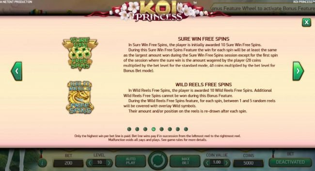 4 Stars featuring the Video Slots Koi Princess with a maximum payout of $1,000,000