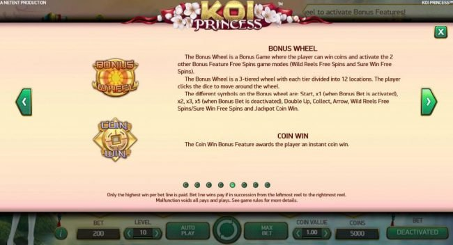 7 Gods Casino featuring the Video Slots Koi Princess with a maximum payout of $1,000,000