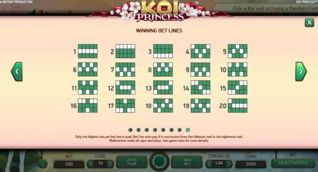 Energy featuring the Video Slots Koi Princess with a maximum payout of $1,000,000