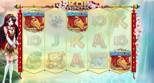 Queen Vegas featuring the Video Slots Koi Princess with a maximum payout of $1,000,000