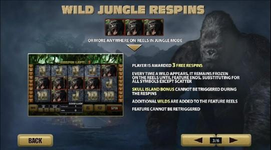 KONG The 8th wonder of the world :: wild jungle respins with 3 or more anywhere on reels in jungle mode